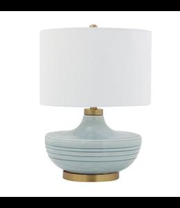 Creative Co-Op Ceramic Table Lamp w/ Natural Linen Shade, Aqua (100 Watt Bulb Maximum)