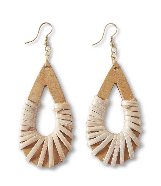 K&K Interiors Teardrop Mango Wood Wrap Earrings