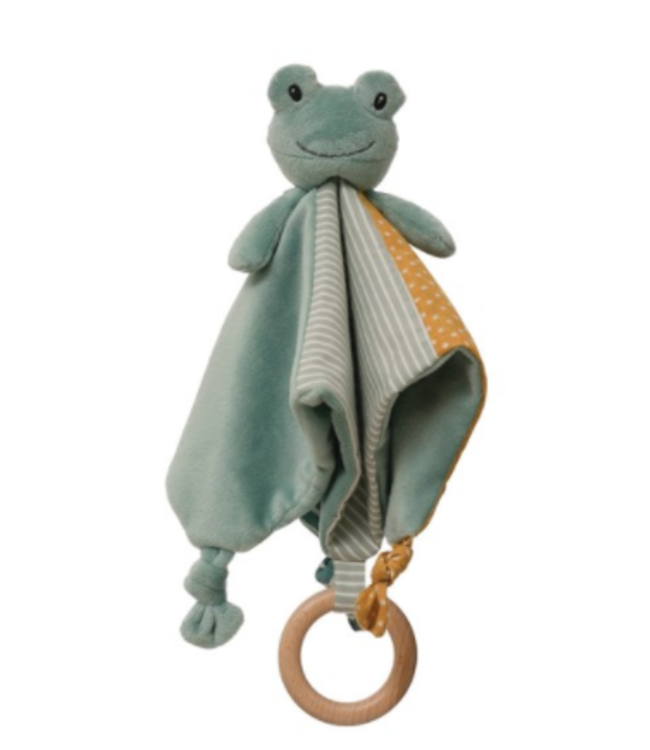 Creative Co-Op Frog Snuggle Toy with Wooden Ring