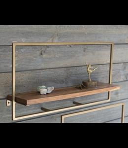 Kalalou Large Rectangle Iron and Mango Wood Shelf