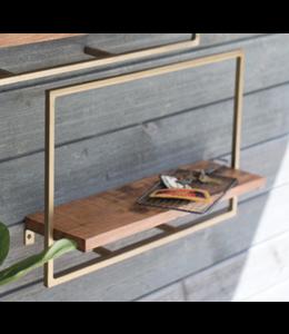 Kalalou Small Rectangle Iron and Mango Wood Shelf