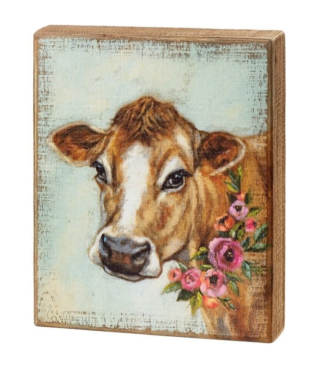 Primitives By Kathy Floral Cow Block Sign