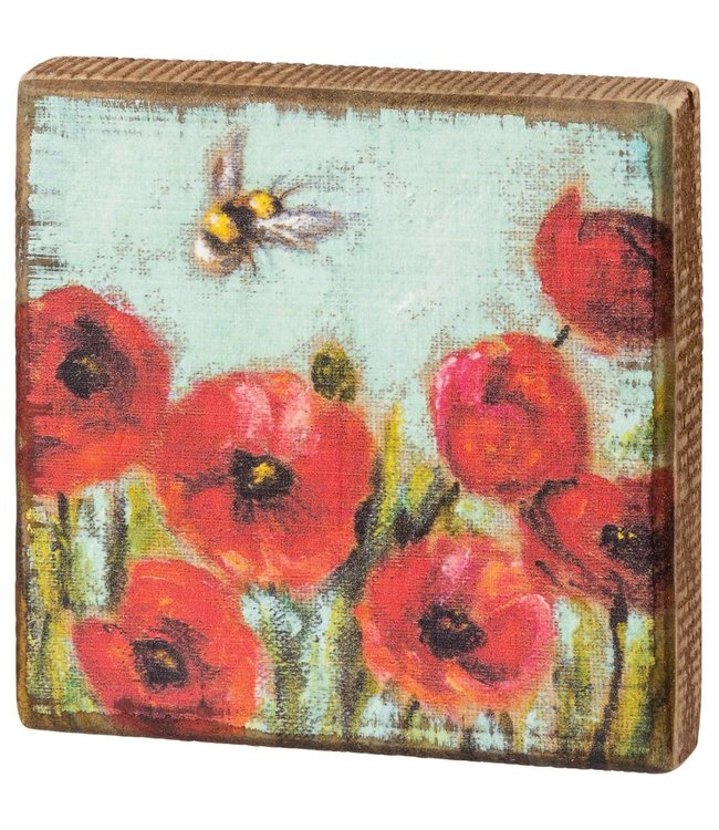 Primitives By Kathy Red Poppies Block Sign