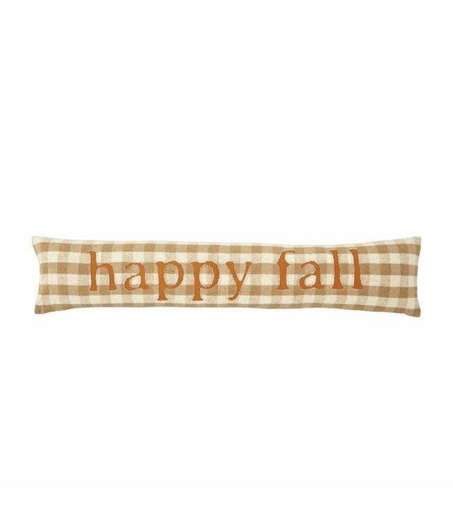 MudPie Happy Fall Buffalo Check Pillow