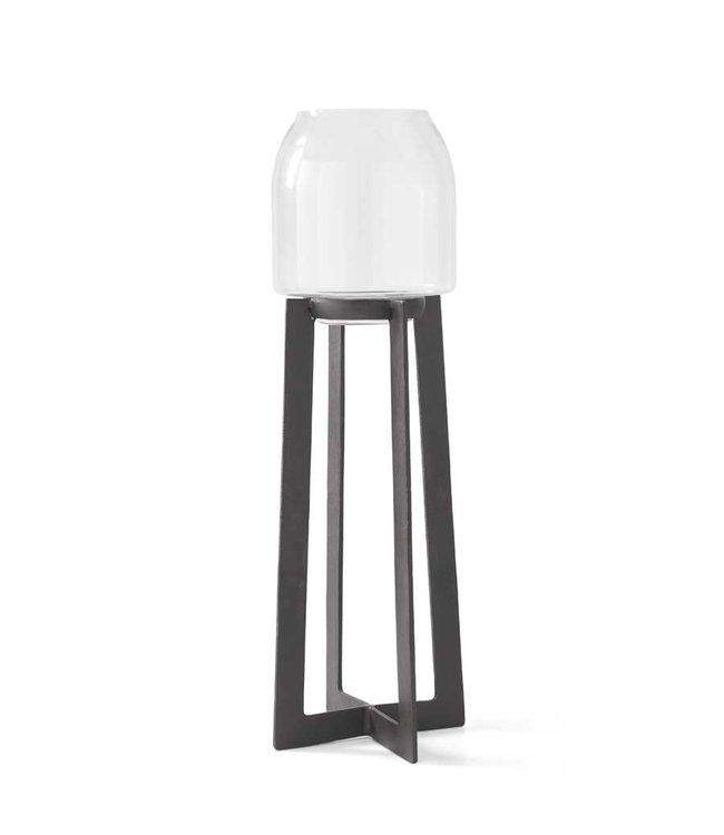 K&K Interiors 33.75 Inch Glass Hurricane on Modern Dark Metal Stand