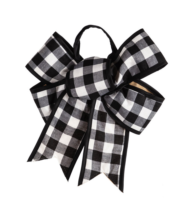 Evergreen Black and White Buffalo Plaid Door Tag Bow