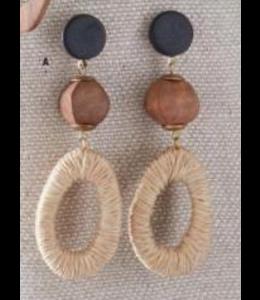 K&K Interiors Wicker Wood Shell and Horn Wrapped Teardrop Earrings