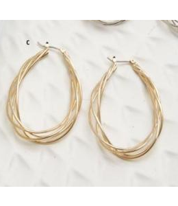 K&K Interiors Gold Twisted Metal Teardrop Earrings