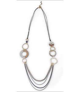 K&K Interiors Gray Resin & Wood Necklace with Multi Chain Drape