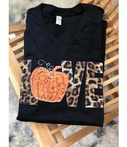 The White Stitch + Miss Monogram Love Leopard Pumpkin Shirt