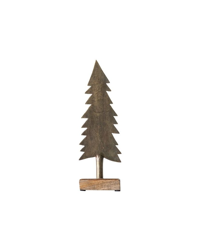 Creative Co-Op Metal Christmas Tree on Wood Base, Antique Brass Finish