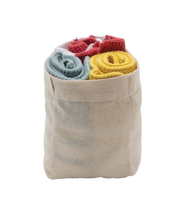 Creative Co-Op Cotton Knit Striped Dish Cloths, Yellow, Red & Blue, Set of 3 in Cotton Bag