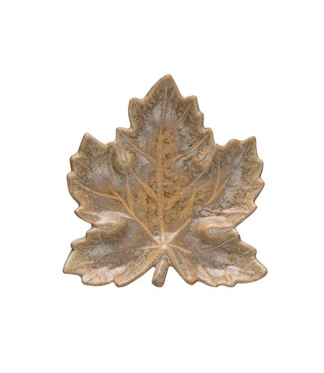 Creative Co-Op Reactive Glaze Leaf Dish