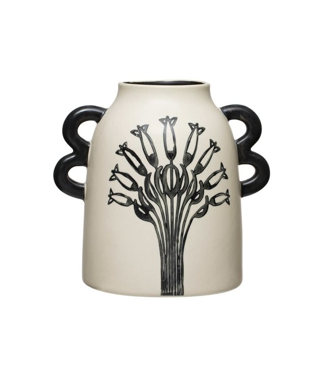 Creative Co-Op Hand-Painted Stoneware Vase with Handles & Flower, Black & White