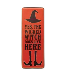 """Creative Co-Op Metal Wall Decor with Black Trim, Orange & Black """"Yes, The Wicked Witch Does Live Here"""""""