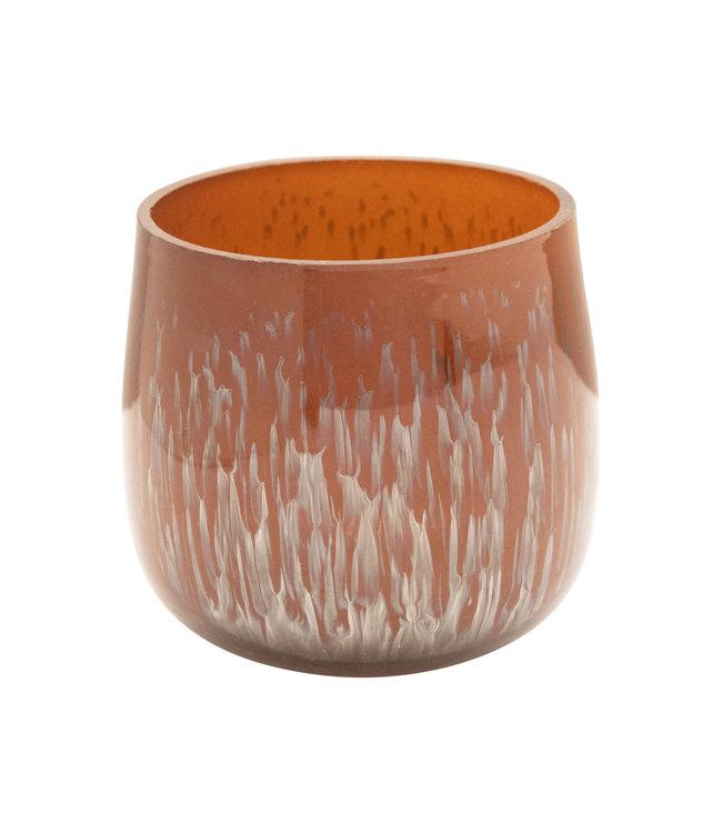 Creative Co-Op Glass Tea Light Holder, Distressed Copper