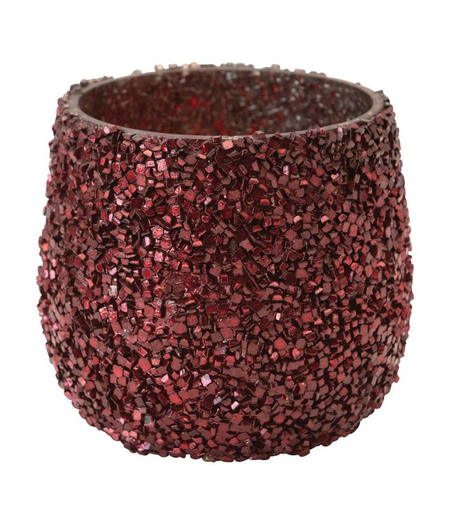 Creative Co-Op Glass Tea Light Holder with Mica Flakes, Red