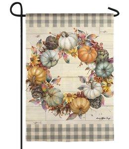 Evergreen Pumpkin Time Wreath Garden Suede Flag