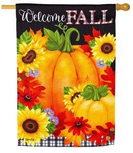Evergreen Welcome Fall Garden Textured Suede Flag