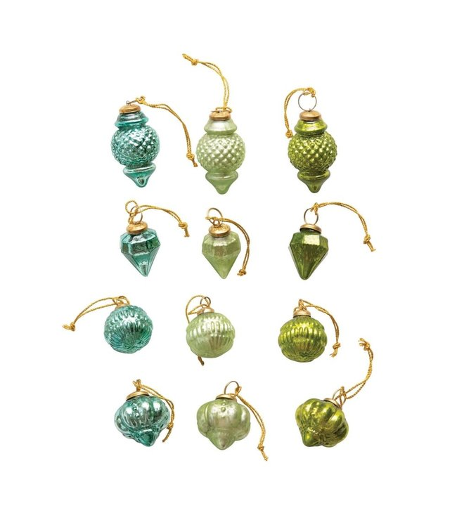"""Creative Co-Op 2"""" Round Glass Ornaments in Kraft Box, Blues & Greens, Set of 12"""
