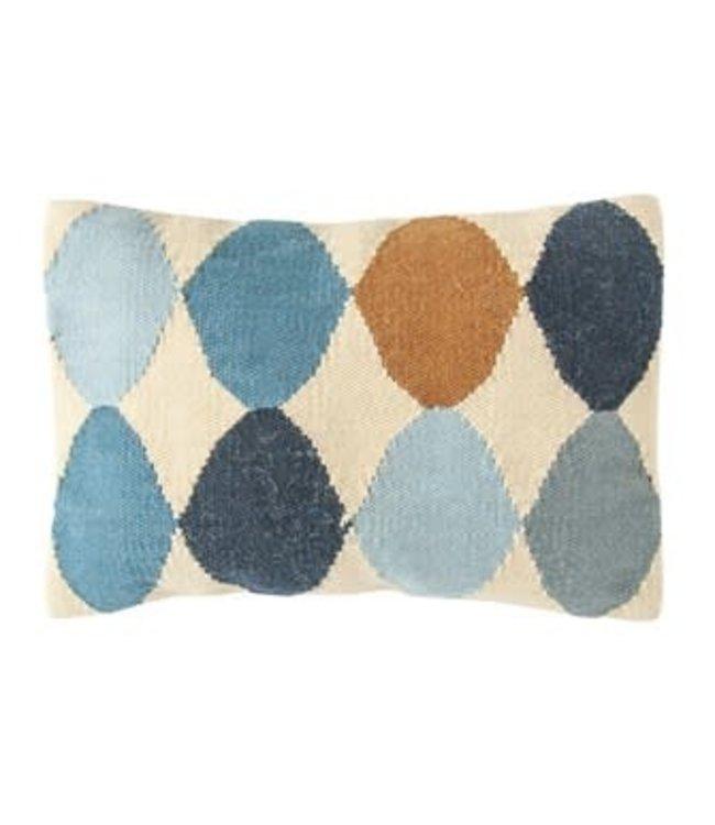 Creative Co-Op Woven Wool Blend Pattern Lumbar Pillow, Multi Color