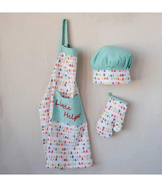 Creative Co-Op Cotton Apron with Chef Hat and Oven Mitt Set