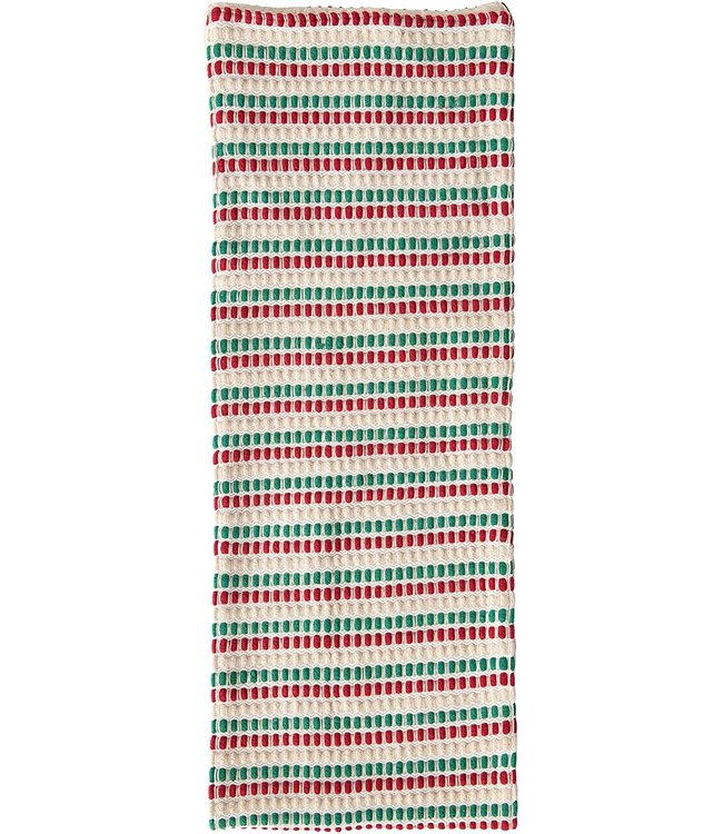 Creative Co-Op Cotton Table Runner, Red & Green Stripes