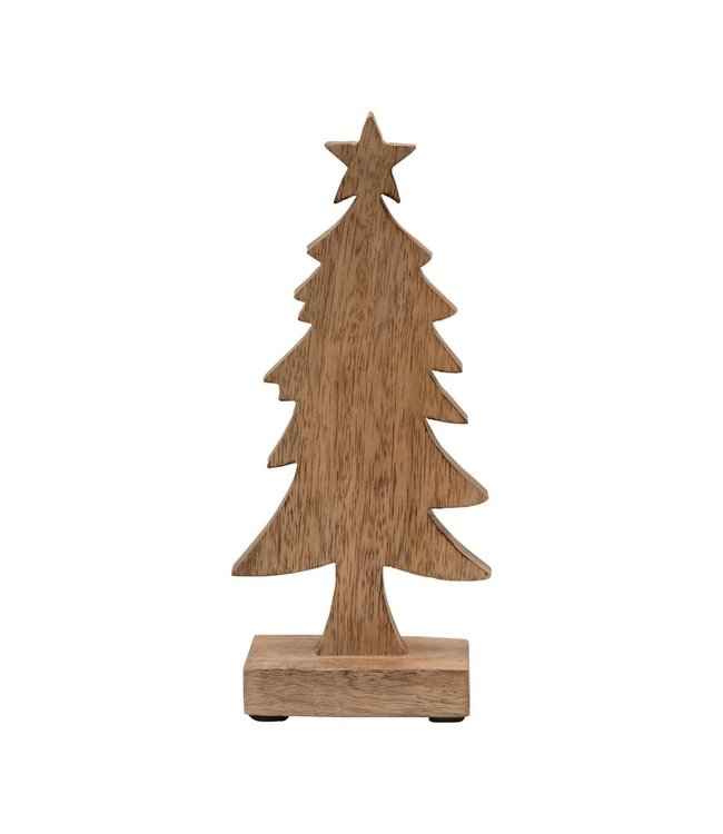 Creative Co-Op Hand-Carved Mango Wood Christmas Tree on Stand