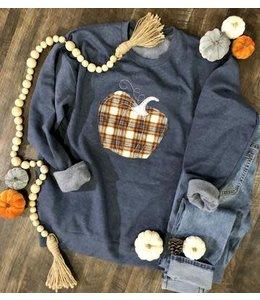 The White Stitch + Miss Monogram Plaid Pumpkin Sweatshirt