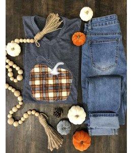 The White Stitch + Miss Monogram Plaid Pumpkin V-Neck