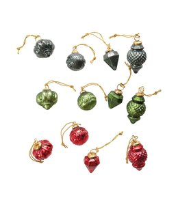 """Creative Co-Op 2"""" Round Glass Ornaments in Kraft Box, Multi Color, Set of 12"""