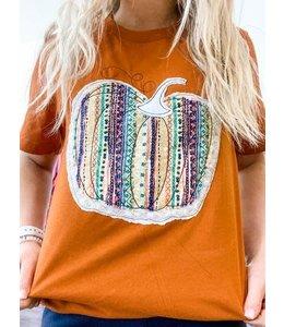 The White Stitch + Miss Monogram Rust Aztec Pumpkin Tee