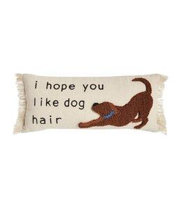 MudPie Dog Hair Canvas Hook Pillow