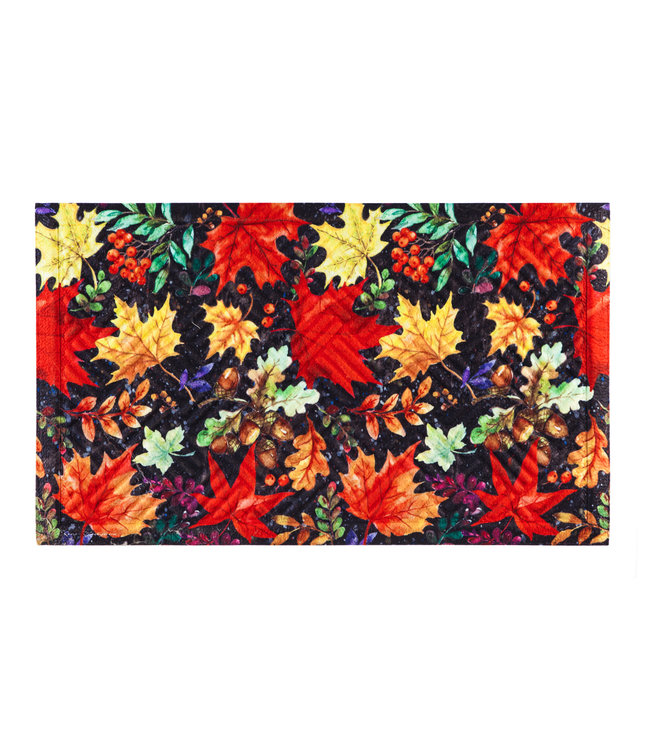 Evergreen Colorful Fall Leaves Embossed Floor Mat