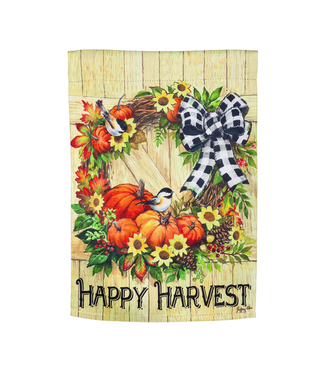Evergreen Harvest Wreath Garden Suede Flag