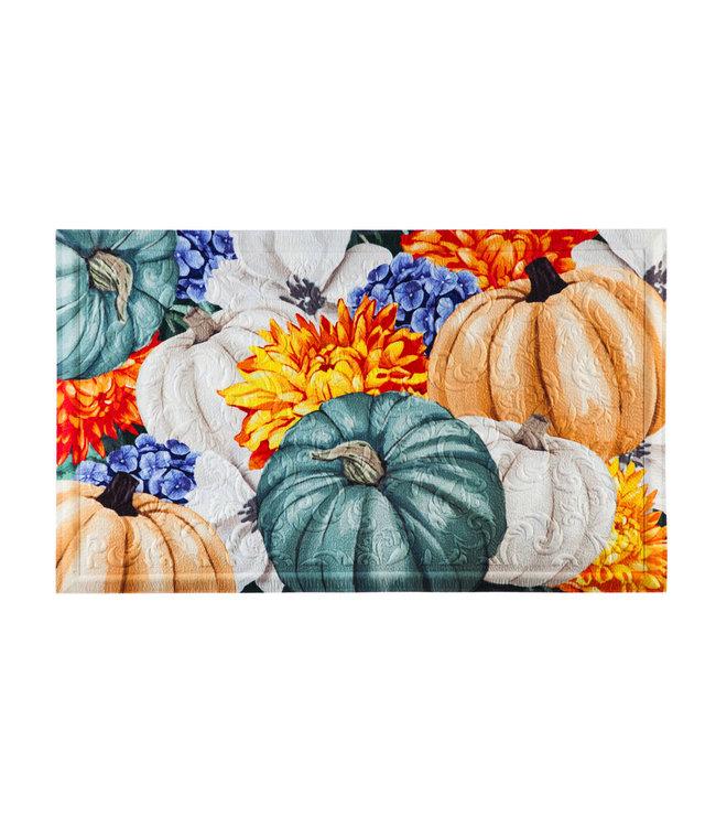 Evergreen Soft Autumn Pumpkins Embossed Floor Mat