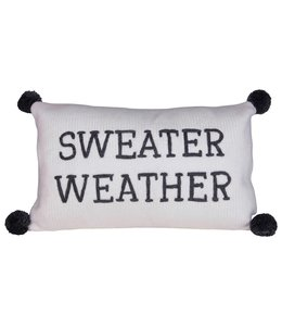 """Creative Co-Op Cotton Knit Lumbar Pillow w/ Embroidery & Pom Poms, Grey & Cream Color """"Sweater Weather"""""""