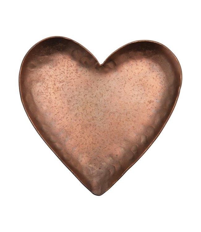 Creative Co-Op Decorative Pounded Metal Heart Dish, Copper Plated Finish