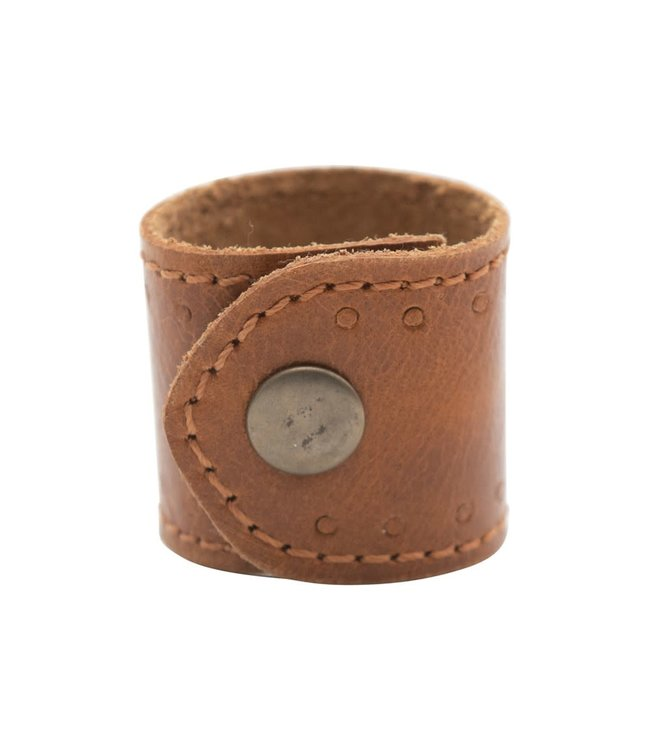 Creative Co-Op Leather Napkin Ring with Snap Closure, Brown