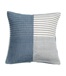 """Creative Co-Op 24"""" Square Woven Wool & Cotton Pillow with Stripes, Blue & White"""