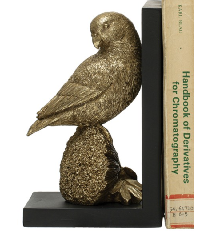 Creative Co-Op Resin Parrot Bookend, Gold Finish- Facing Up