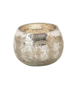 Creative Co-Op Etched Mercury Glass Tealight Holder, Antique Silver Finish