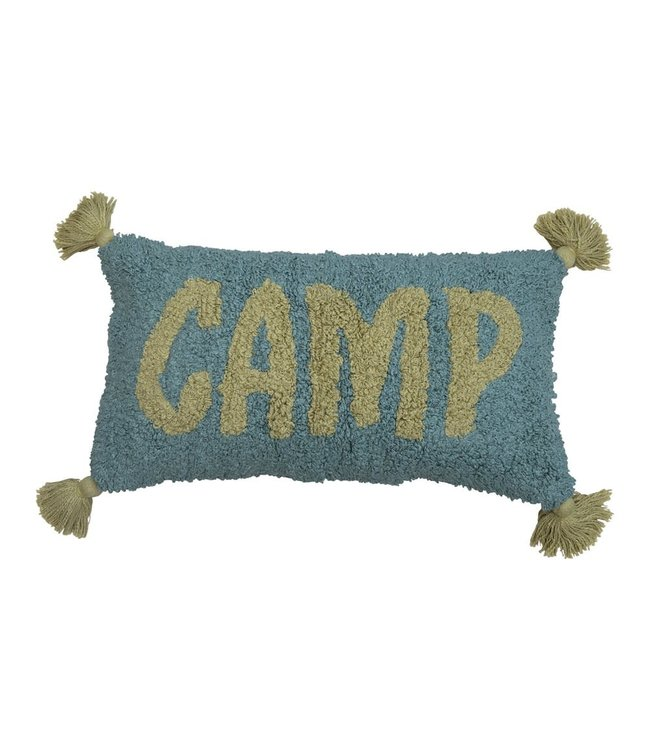 """Creative Co-Op Cotton Punch Hook Lumbar Pillow with Tassels """"Camp"""", Sage & Celery Color"""