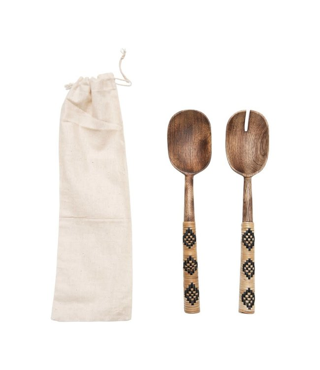 Creative Co-Op Mango Wood Salad Servers with Patterned Rattan Wrapped Handles, Set of 2 in Drawstring Bag