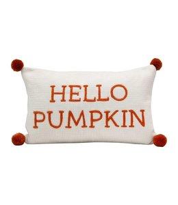 "Creative Co-Op Cotton Knit Lumbar Pillow w/ Embroidery & Pom Poms ""Hello Pumpkin"""