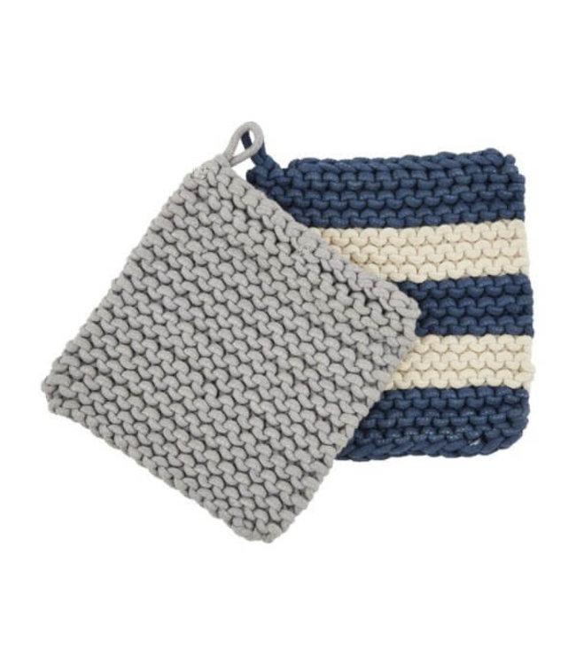 MudPie Blue Crochet Pot Holder Set
