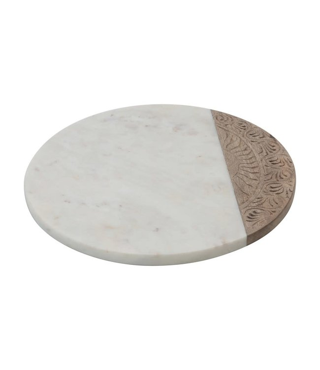 Creative Co-Op Hand-Carved Mango Wood & Marble Serving Board with Engraved Design, White & Natural- Circular