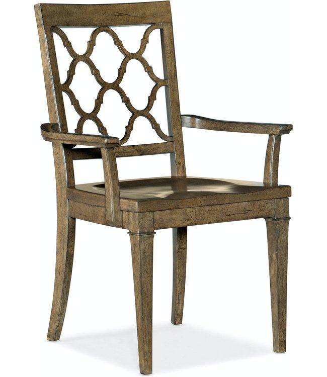 Hooker Furniture Montebello Wood Seat Arm Chair