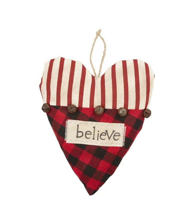 MudPie Heart Check Ornament- Heart