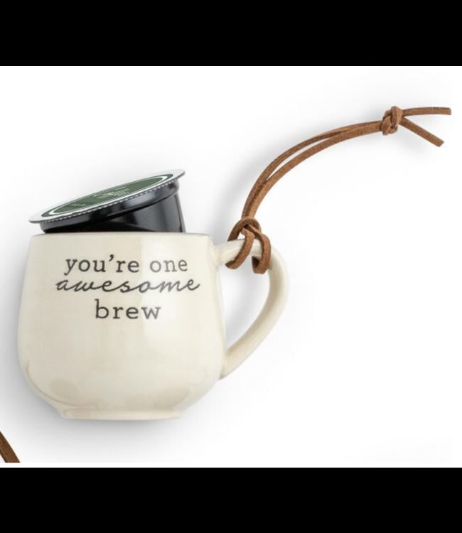 Demdaco Coffee Pod Mug Christmas Ornament- Awesome Brew